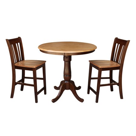 Tremendous 36 Round Counter Height Table With 2 San Remo Stools Cinnamon Espresso 3 Piece Set Bralicious Painted Fabric Chair Ideas Braliciousco