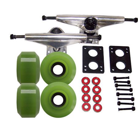 LONGBOARD TRUCKS 65mm GREEN WHEEL Skate Package ABEC
