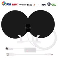 [2018 Newest] Amplified HD Digital TV Antenna Long 80 Miles Range – Support 4K 1080p & All Older TV's Indoor Powerful HDTV Amplifier Signal Booster - 18ft Coax Cable/USB Power Adapter
