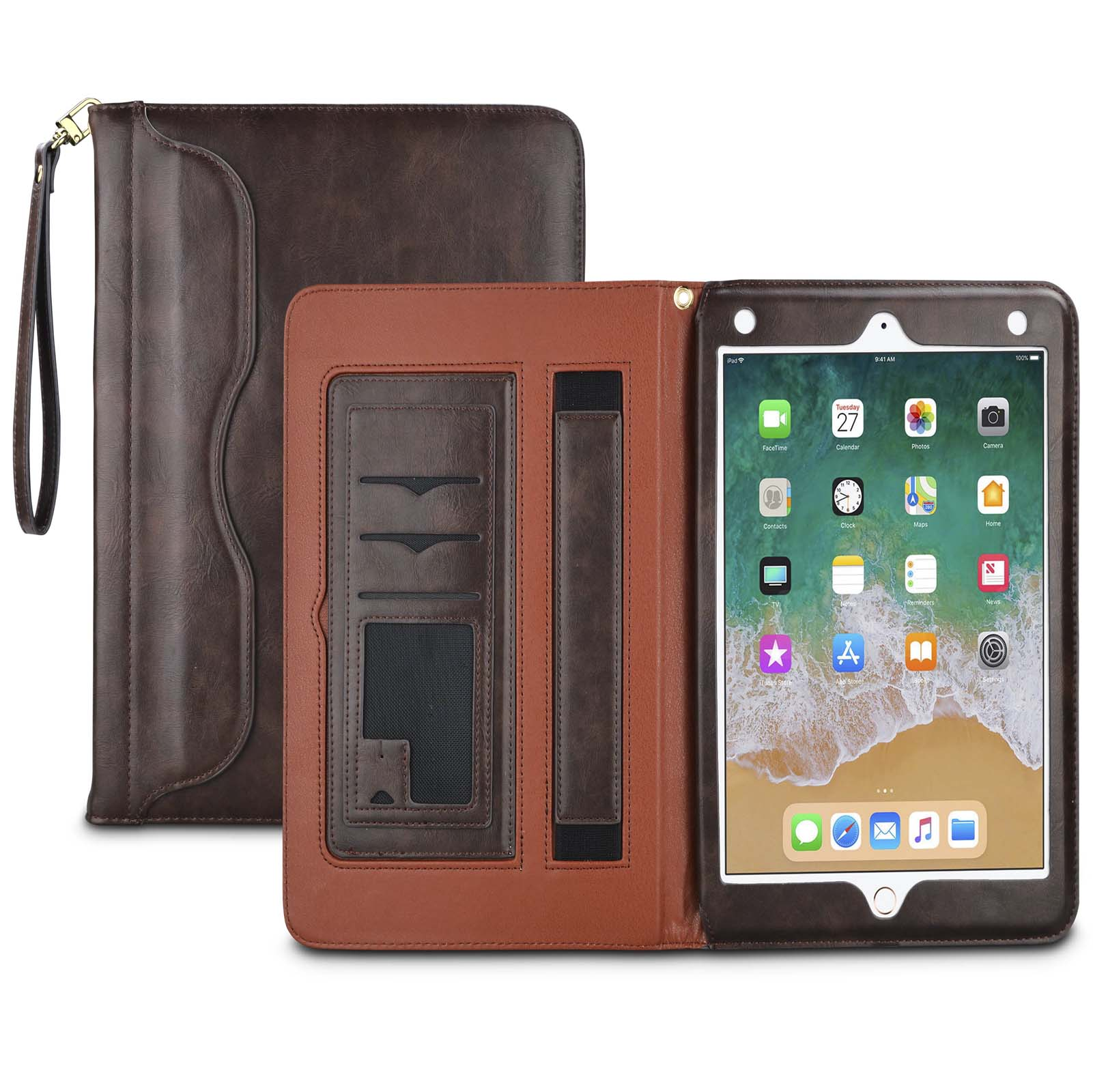 Njjex Case Apple iPad Mini / iPad Mini 2 / iPad Mini 3, [Secure Hand Strap] Premium Leather Slim Folio Stand Flip Smart Cover w/ Pocket Document Card Slots, Auto Wake/Sleep -Brown