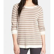 Halogen NEW Beige Women's Size XS Striped Boat Neck Cashmere Sweater
