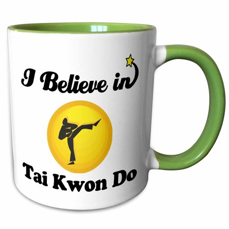 3dRose I Believe In Tai Kwon Do - Two Tone Green Mug, 11-ounce ()