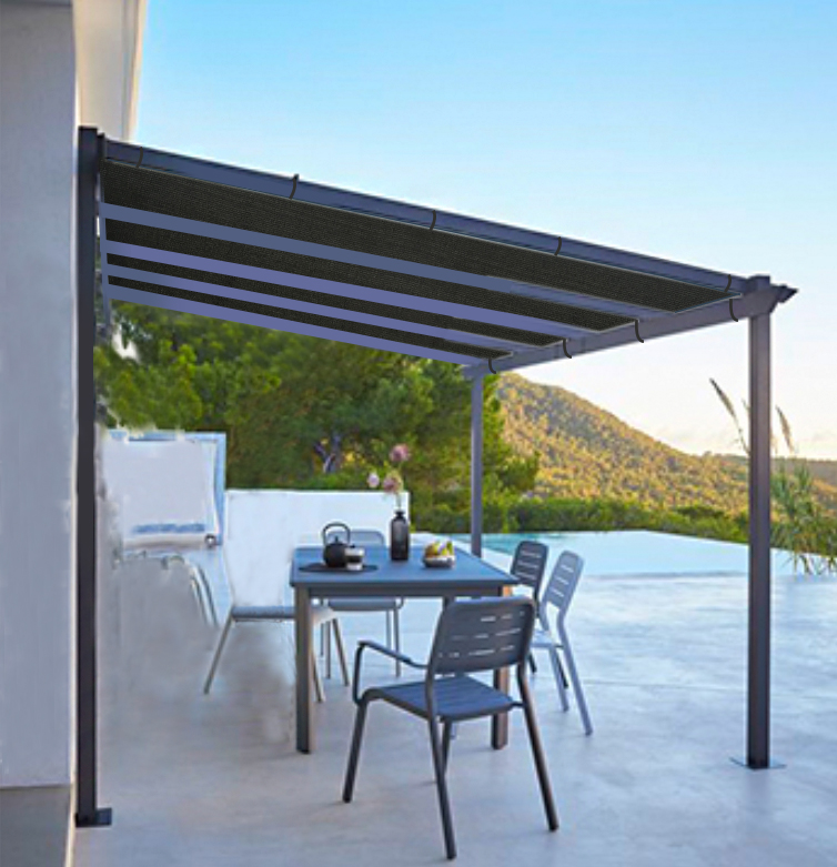 Shatex Outdoor Shade Cloth Reinforce The Edge with Ready-tie Ribbons for Pergola 12x20ft Black