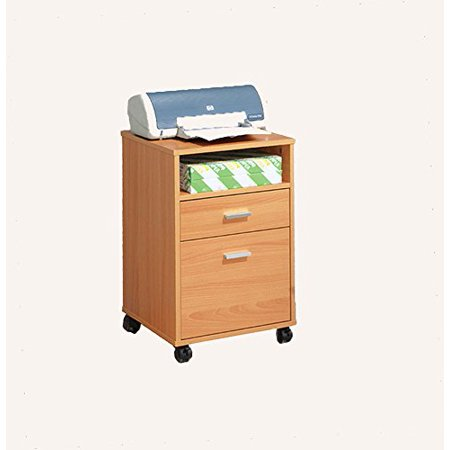1PerfectChoice Home Office Mobile File Cabinet Storage Furniture 2 Drawers 1 Shelf Wood