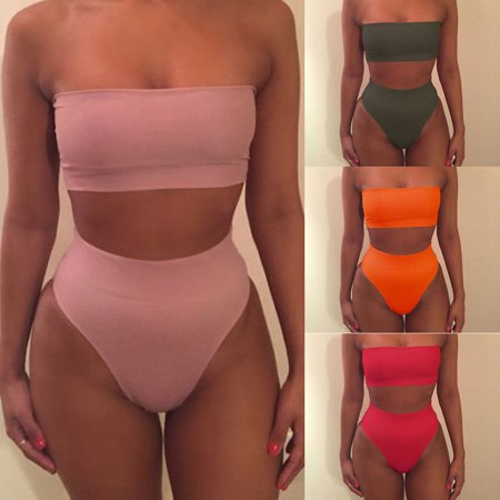 - Womens Strapless Bandeau Top Bikini Set High Waist Bottom Swimsuit Swimwear