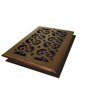 "Decor Grates 6"" x 10"" steel plated rubbed bronze finish scroll design wall register"