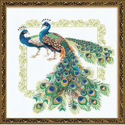 """Peacocks Counted Cross Stitch Kit-18.875""""X18.875"""" 14 Count"""