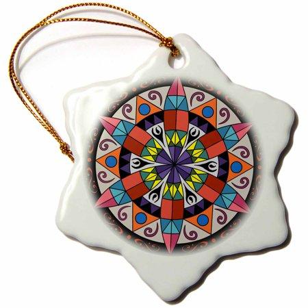 3dRose Hex Sign 1 Pennsylvania Dutch Luck Protection Symbol, Snowflake Ornament, Porcelain, 3-inch ()
