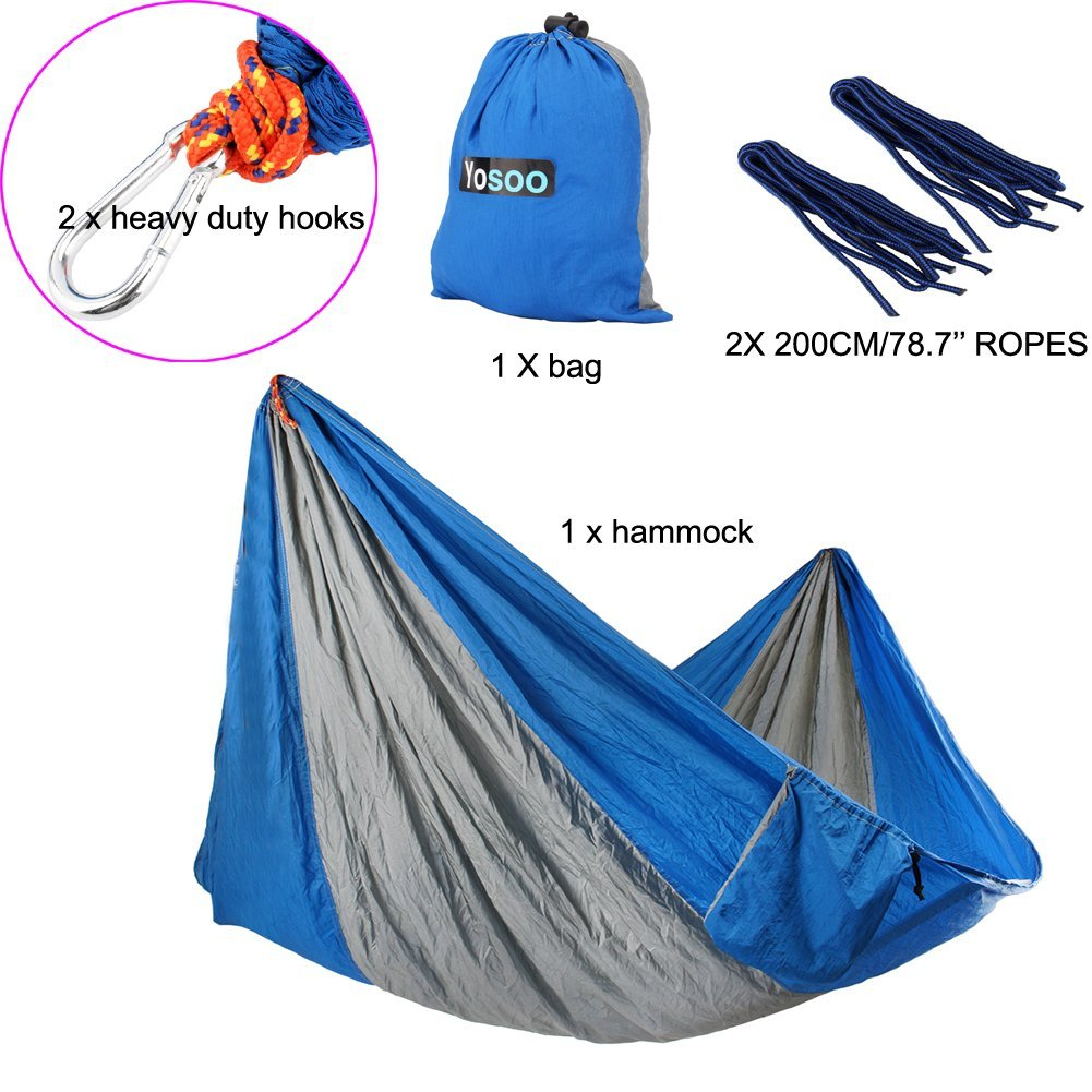 Double Hammock - Lightweight Indoor and Outdoor Nylon Parachute Hammocks for Camping Backpacking & Travel Ropes Included Multi Color
