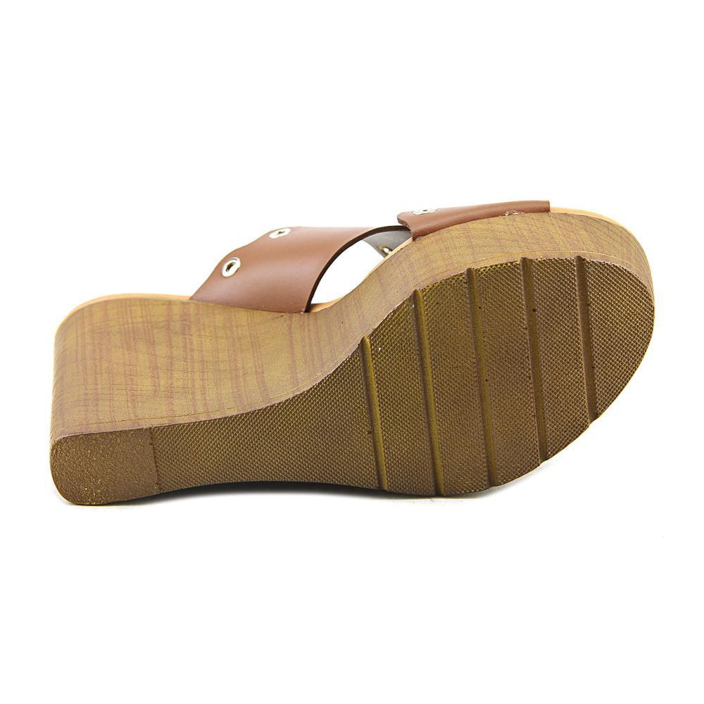 Callisto Darcii Women  Open Toe Leather Brown Wedge Heel