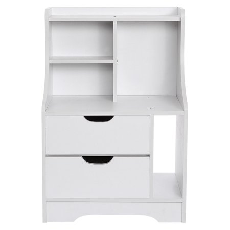 AUWER Bedside Table Simple Living Room Table with Drawer & Storage Shelf for Bedroom