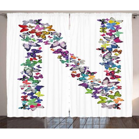 - Letter N Curtains 2 Panels Set, Butterflies in Various Color Combinations in Capitalized N Shape Alphabet Design, Window Drapes for Living Room Bedroom, 108W X 108L Inches, Multicolor, by Ambesonne