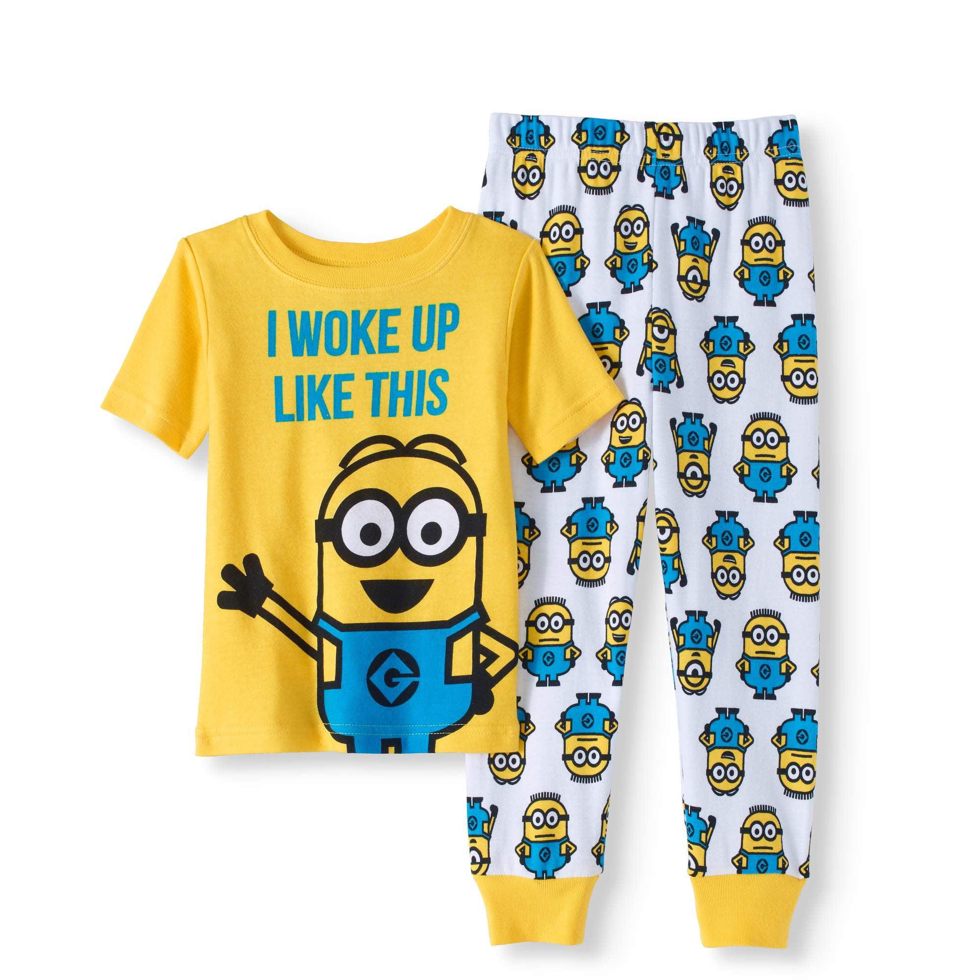 Minions Toddler Boy Cotton Tight Fit Pajamas, 2pc Set