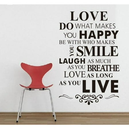 DIY Happy Live Laugh Love Smile, Inspirational Quote Wall Paper Art Vinyl Decal - Happy Halloween Funny Quotes