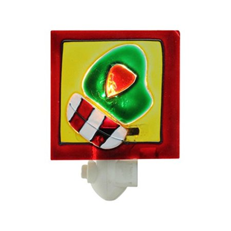 "3.5"" Christmas Traditions Red and White Striped Green Holiday Mitten Night Light"