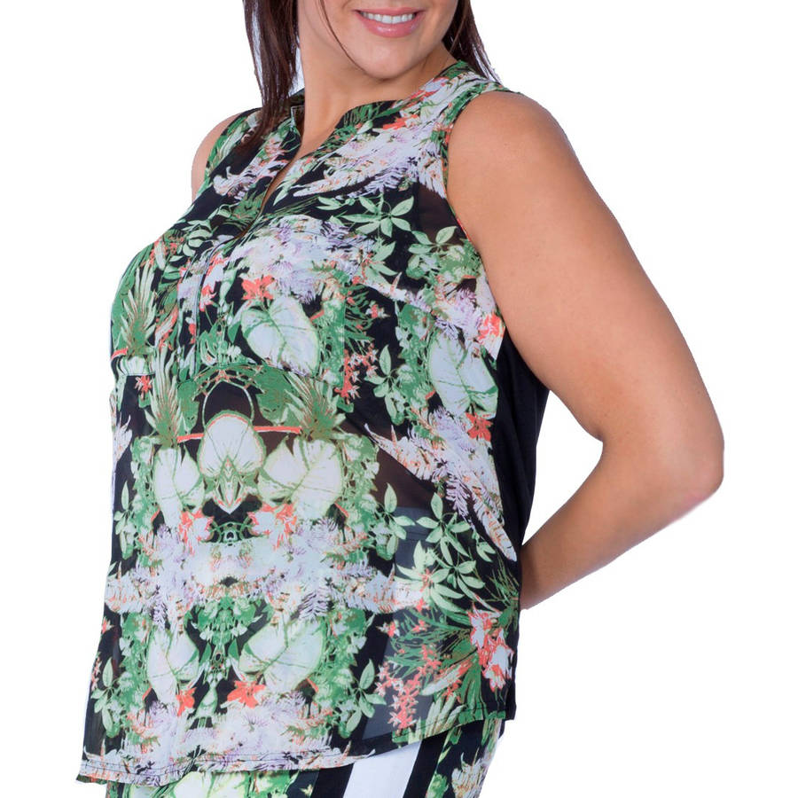 Plus Moda Women's Plus-Size Tropical Print Sleeveless High-Low Blouse w/Front Pockets