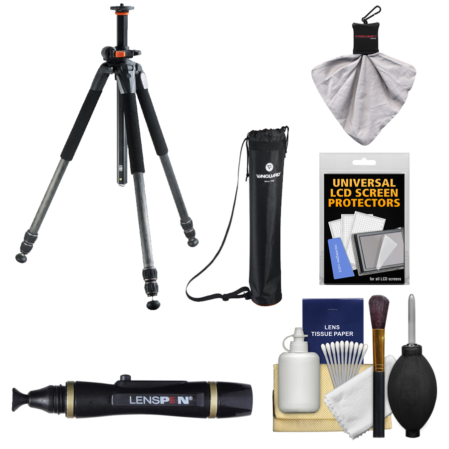 "Vanguard Alta Pro 253CT 65"" Carbon Fiber Tripod with Case   Cleaning & Accessory Kit"
