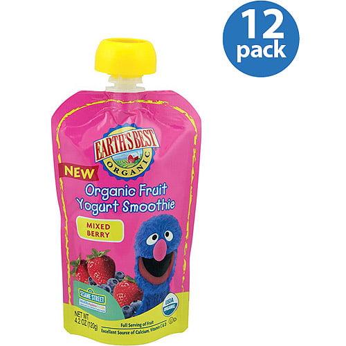 Earth's Best Organic Sesame Street Mixed Berry Fruit Yogurt Smoothie, 4.2 oz (Pack of 12)