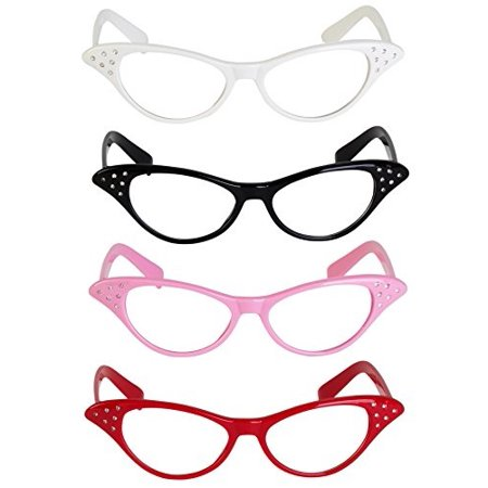 Retro Style Cat Eye Glasses With Rhinestones [Pack Of 4] 4 Bright Colors Red, Black, Pink, White, A Fun Costume Accessory, 50's - 50s And 60s Halloween