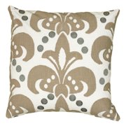 Rizzy Home Printed with Fleur de Lis Embroidery Details Decorative Throw Pillow