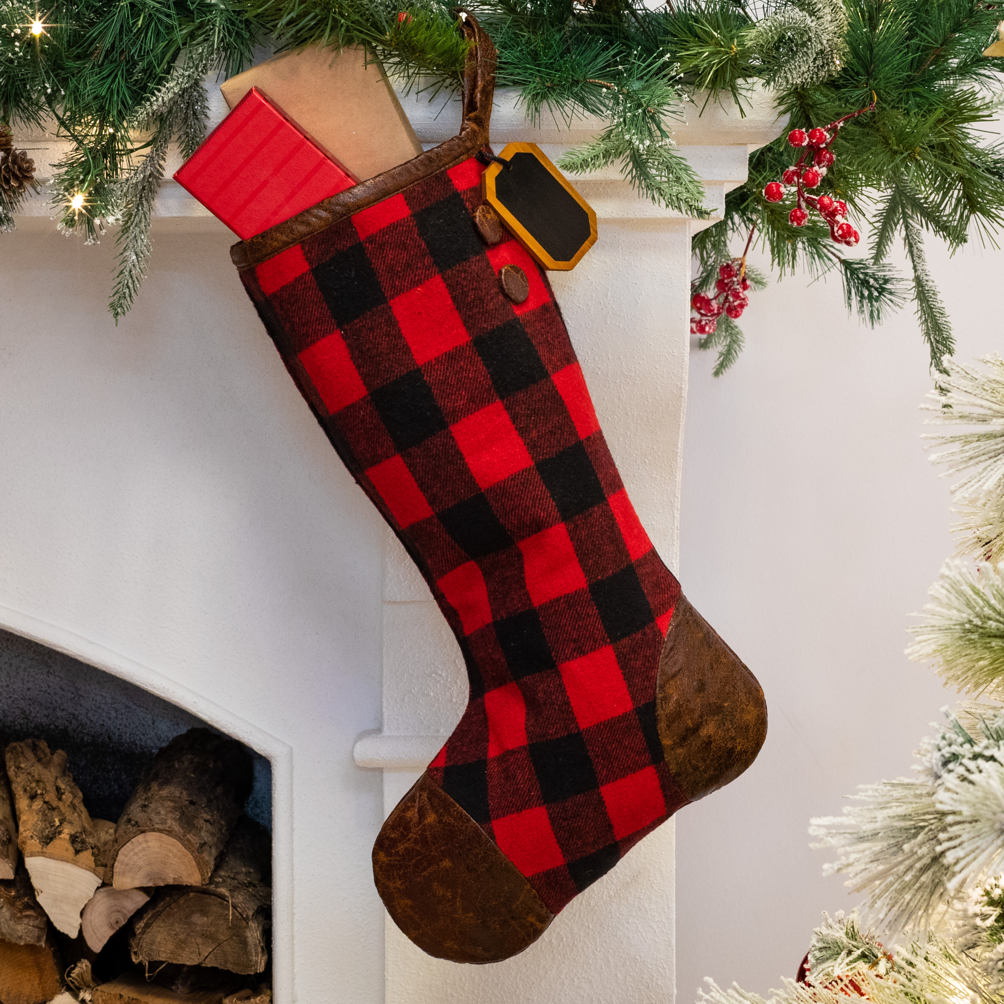 Belham Living Buffalo Plaid Christmas Stocking, 18.5""