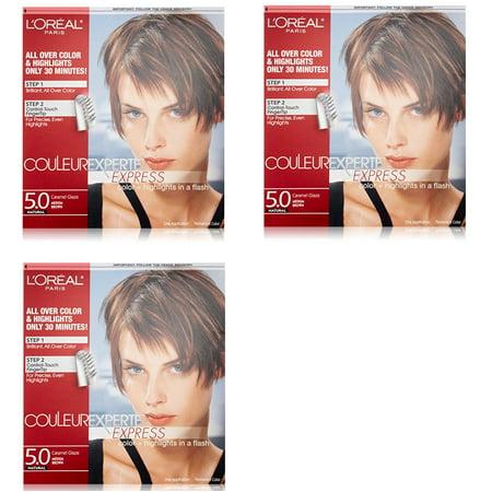 L'Oreal Paris Couleur Experte Express Hair Color + Highlights, Permanent 5.0 Natural Caramel Glaze Medium Brown (Pack of 3)](Les Couleur D'halloween)