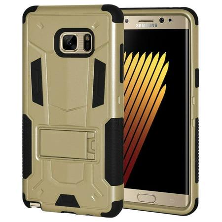Samsung Galaxy Note FE Case, Premium Dual Layer Hybrid Hard Case Soft Rubber Silicone Skin Cover for Samsung Galaxy Note FE Fan Edition N930 N935 - Gold/ Black