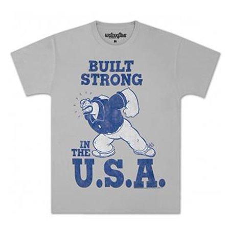 Popeye Bluto Brutus Built Strong T Shirt  X Large  Grey