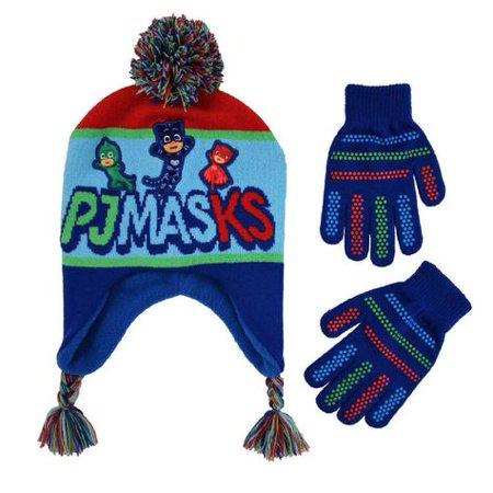 PJ Masks Winter Scandinavian Hat with Pompom and Glove Set - Size 4-7 - Mj Gloves