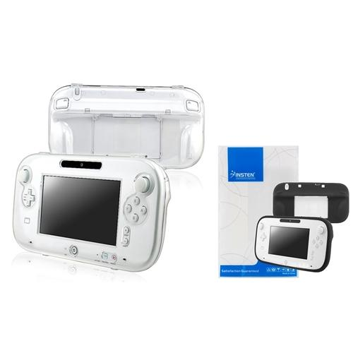 Insten Clear Crystal Hard+Black Soft Case For Nintendo Wii U Gamepad Remote Controller