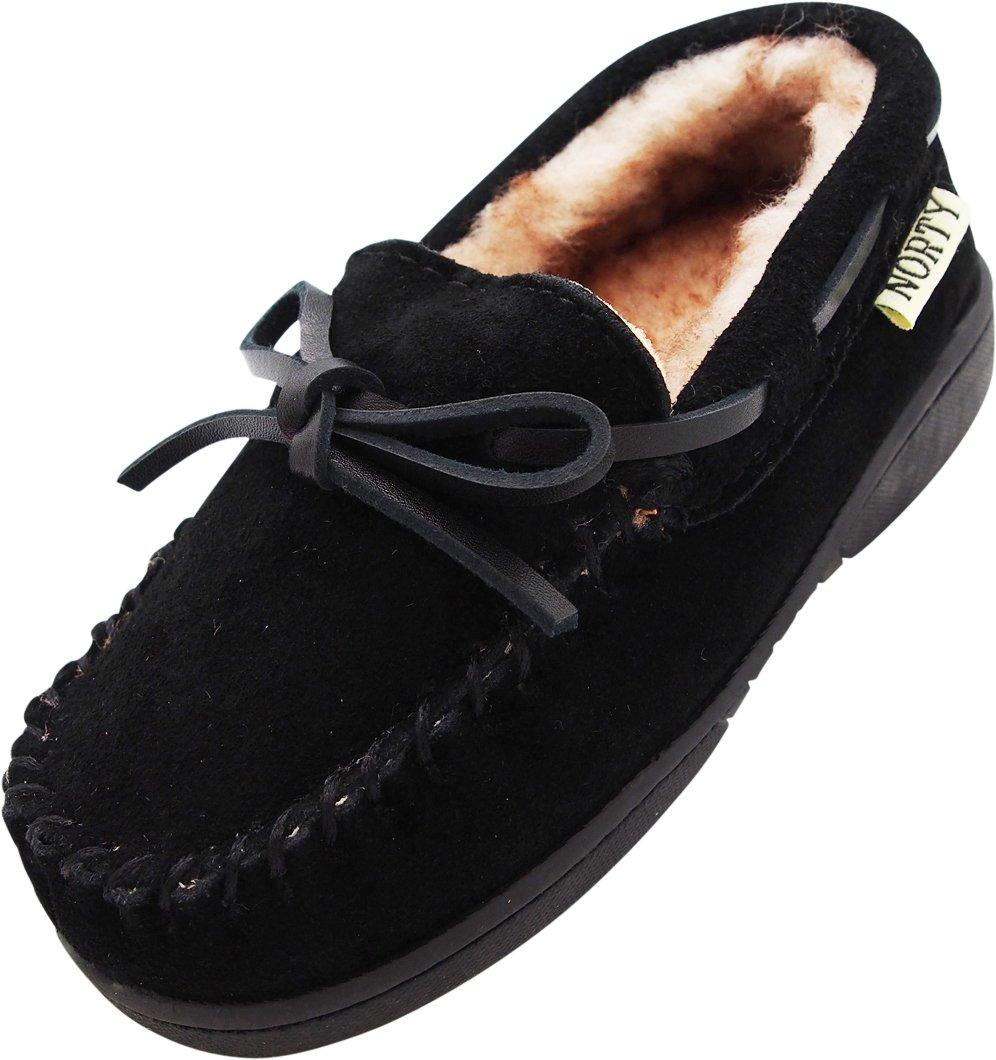 NORTY Toddler Boys Girls Unisex Suede Leather Moccasin Slip On Slippers, 40593 Black / 10MUSToddler