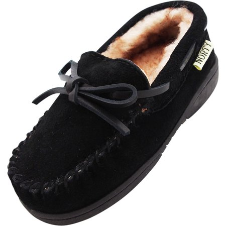 NORTY Toddler Boys Girls Unisex Suede Leather Moccasin Slip On Slippers, 40593 Black / 10MUSToddler