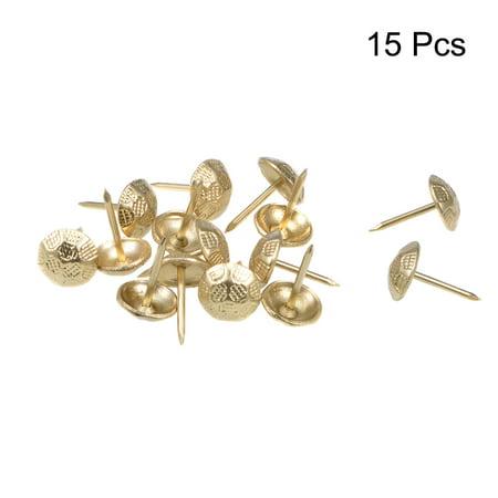 Upholstery Nails Tacks 11mm Head Dia Thumb Push Pins Gold Tone 15 Pcs - image 1 of 4