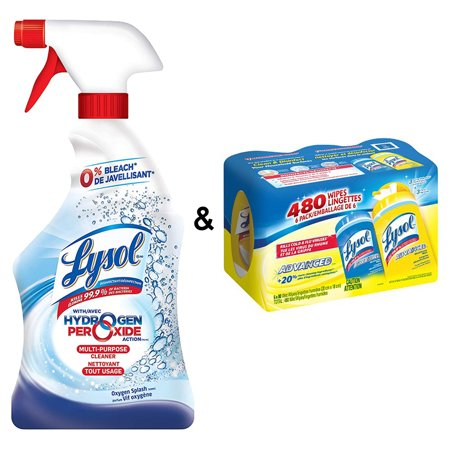 Lysol All Purpose Cleaner, Trigger With Hydrogen Peroxide, Oxygen Splash, 650ml & Lysol Disinfective Wipes (480 Ct - Lemon & Spring Waterfall), 9 Pound - image 1 de 1
