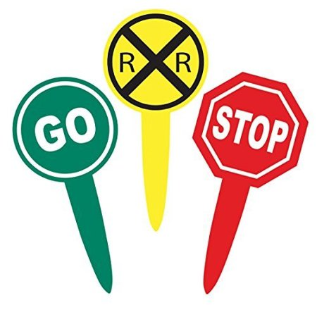 RR Crossing Sign Food Picks (24 pack, RR sign, Stop Sign, Go Sign) Transportation Railroad Party Collection by Havercamp