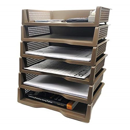 White Rosewood Letter Holder - Stackable Desktop Document Letter Tray Organizer Accessories Paper Tray, Multi-Layer File Sorter Storage Paper Holder (Brown) (6)