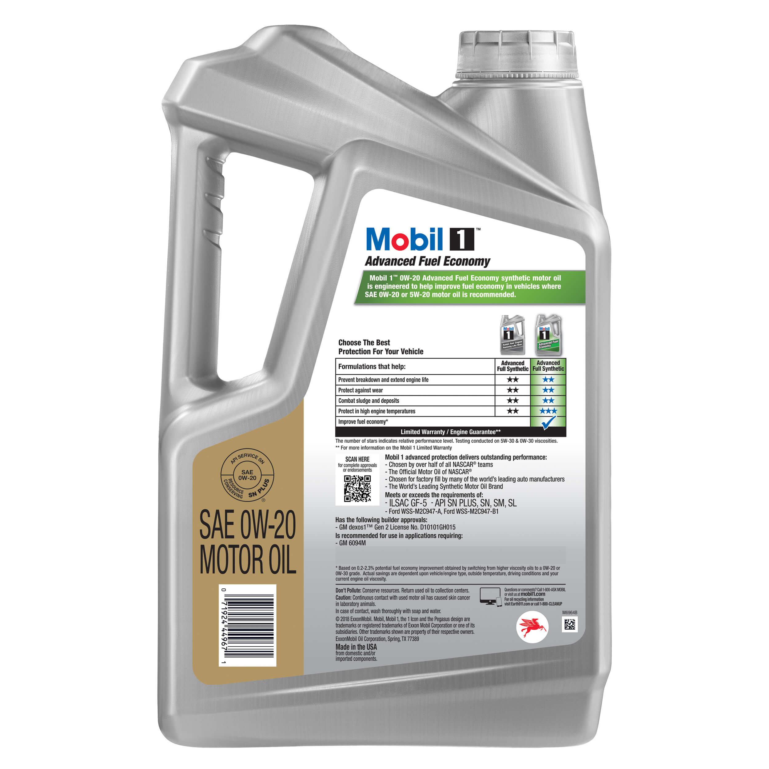 Mobil 1 Advanced Fuel Economy Full Synthetic Motor Oil 0W-20, 5-qt