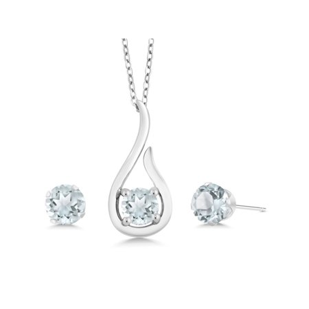 1.35 Ct Sky Blue Aquamarine 925 Sterling Silver Pendant Earrings Set With Chain - image 3 of 5