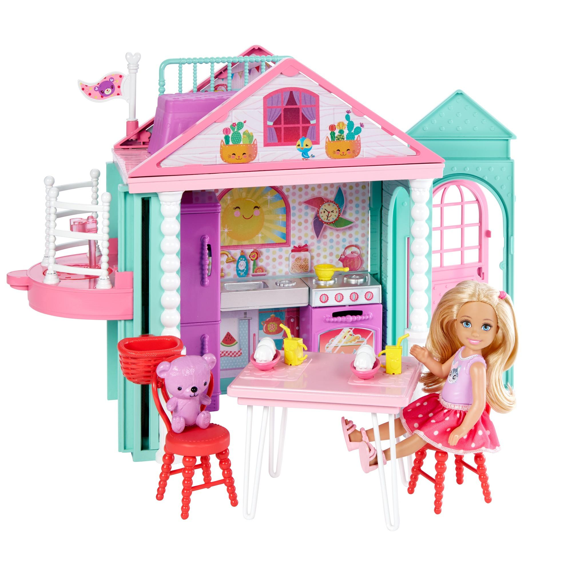 Barbie Club Chelsea Playhouse, 2-Story Dollhouse with Chelsea Doll by Mattel