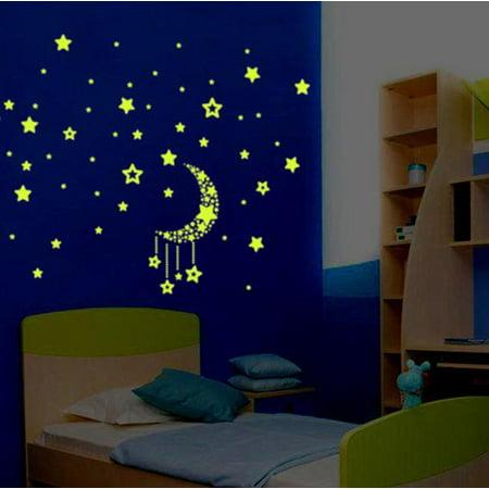 Binmer A Set Kids Bedroom Fluorescent Glow In The Dark Stars Wall Stickers