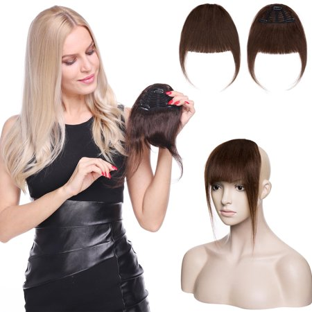 S-noilite Clips in Hair Bangs Fringe Hair Extensions Clip On Bang Topper 3D Straight Hairpieces False Short Flat Two Side Bleach (Short Medium Length Layered Hairstyles With Bangs)