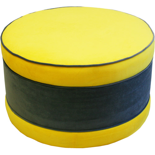 Round Large Storage Ottoman Yellow Velve