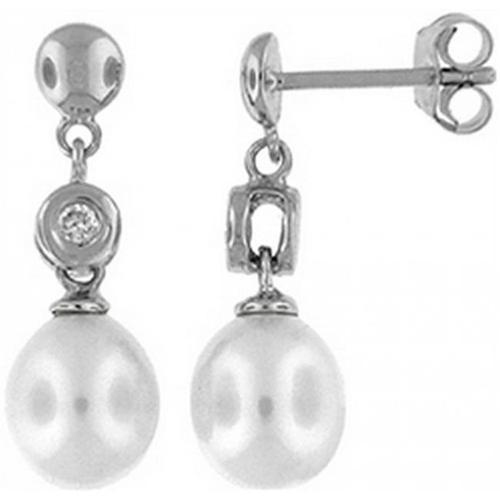 Doma Jewellery DJS02662 Sterling Silver (Rhodium Plated) Dangle and Post Earring with Freshwater Pearl and CZ