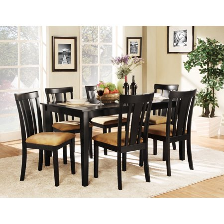 Rectangle Table Set - Homelegance Tibalt 7 Piece Rectangle Black Dining Table Set - 60 in. with 6 Slat Back Chairs