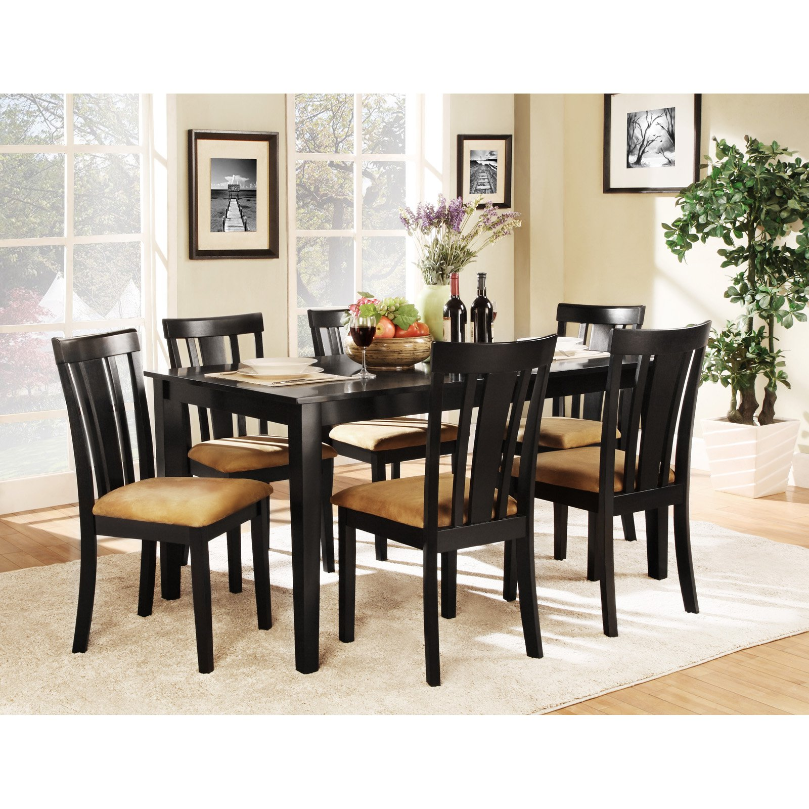 Homelegance Tibalt 7 Piece Rectangle Black Dining Table Set   60 In. With 6  Slat Back Chairs