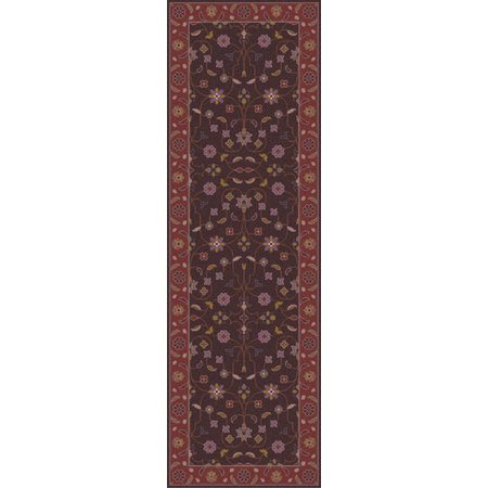 2.5' x 8' Protipo Floral Chocolate Brown and Violet Quartz Hand Tufted Wool Area Throw Rug Runner ()