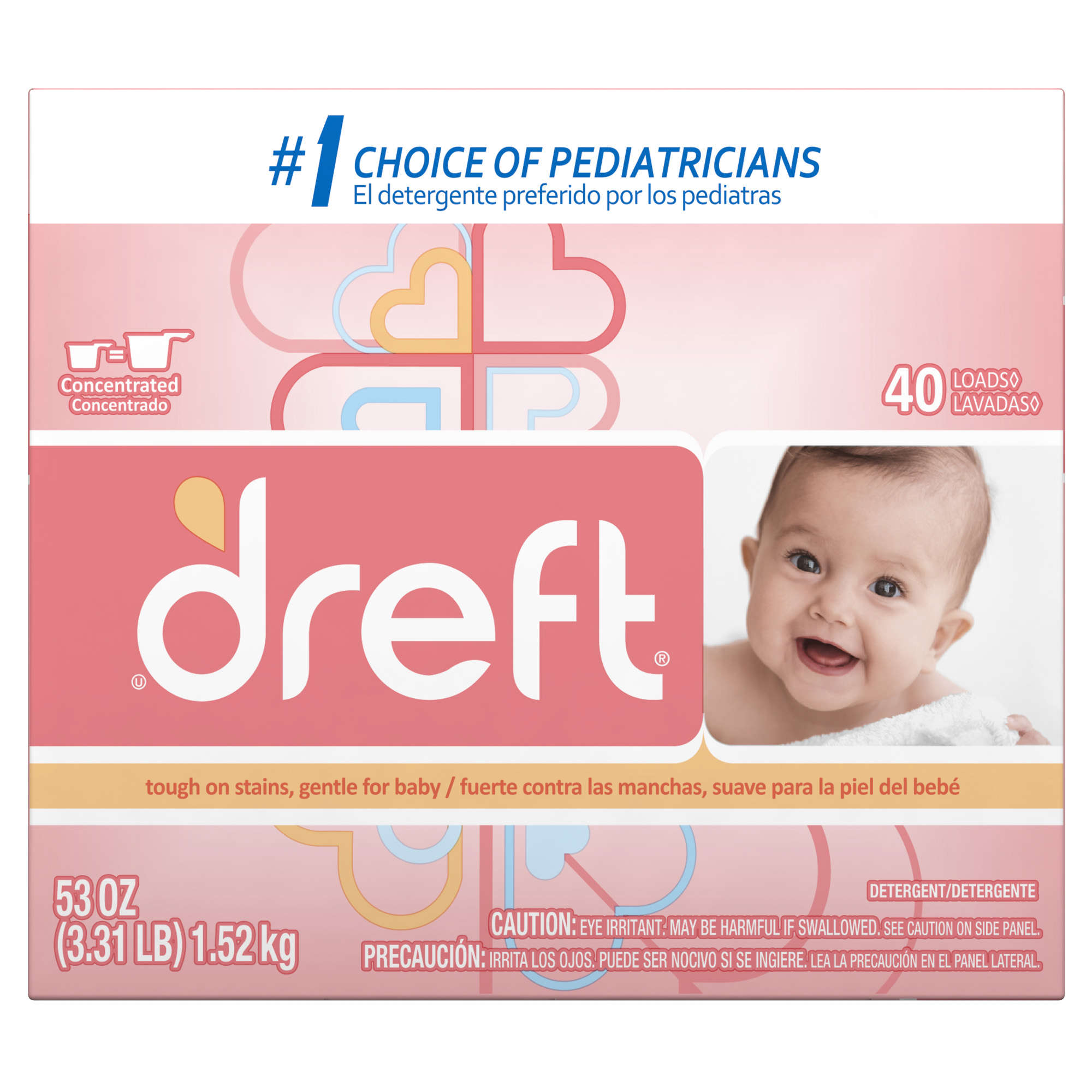 Dreft Baby Original Scent Powder Laundry Detergent, 40 Loads, 53 oz.