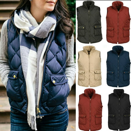Plus Size Women Puffer Padded Vest Jacket Gilet Ladies Sleeveless coat Snowsuit (Steampunk Vest Womens)