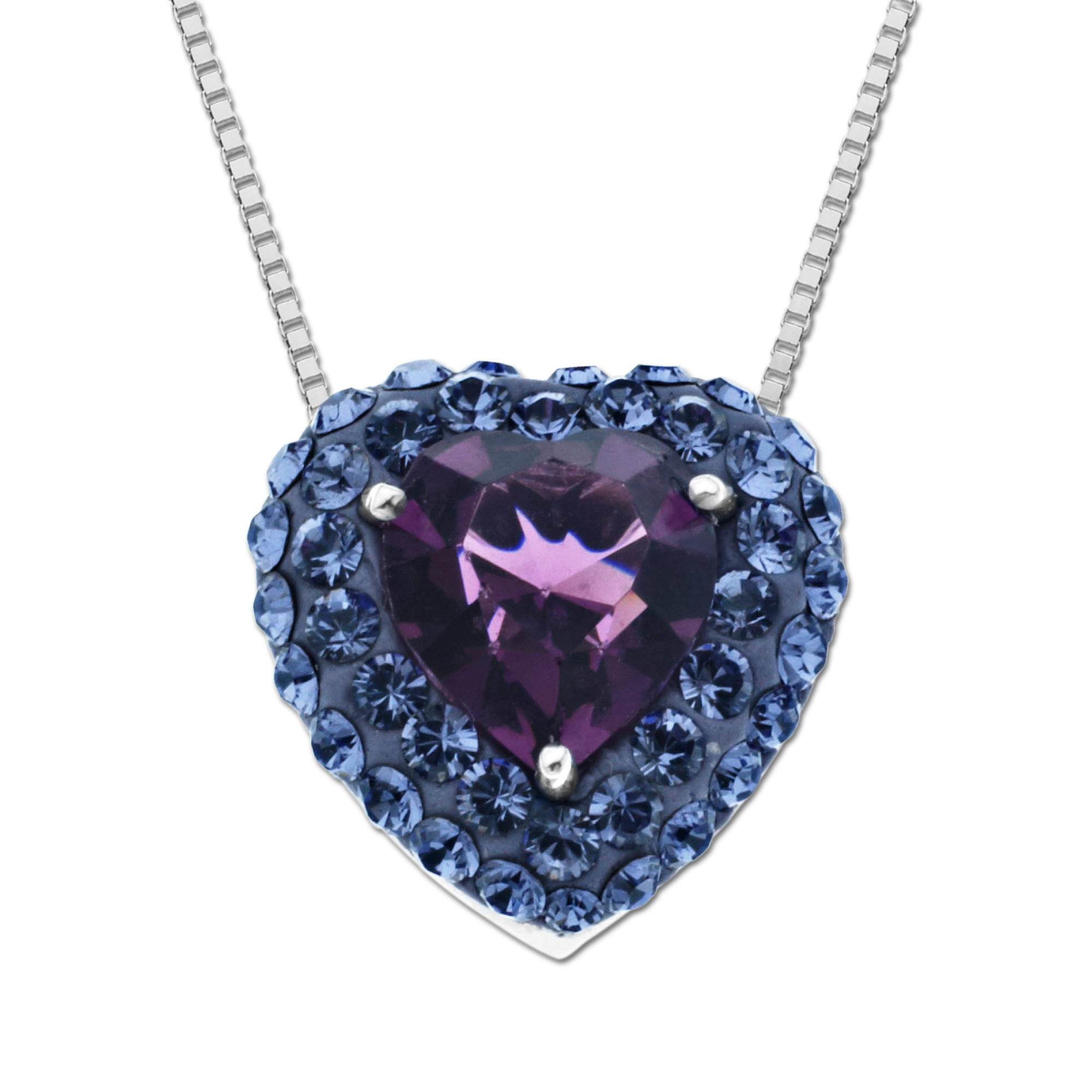Luminesse Sterling Silver Purple Heart Pendant made with Swarovski Elements, 18