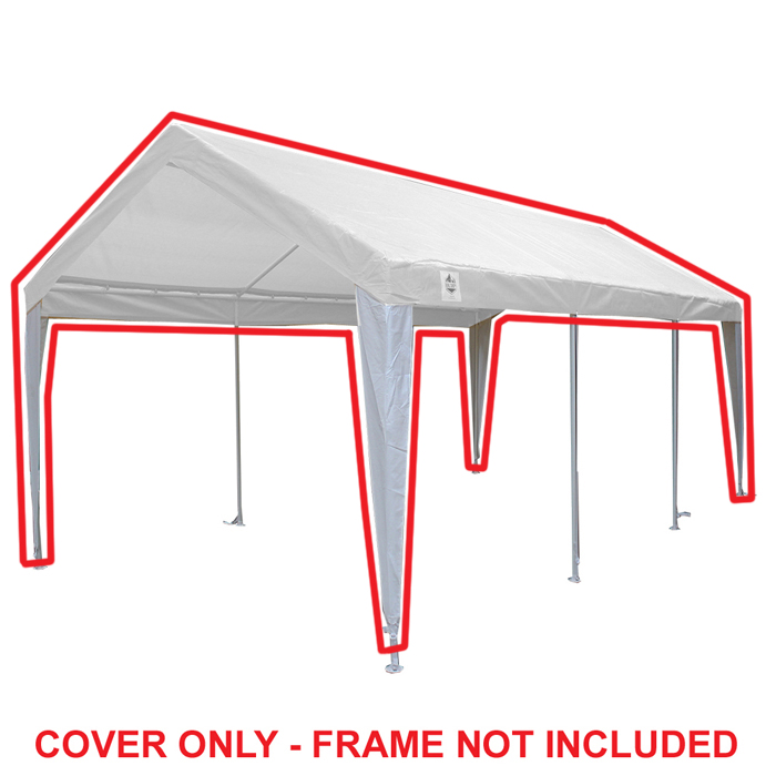King Canopy 10 Ft X 20 Ft White White Fitted Carport Canopy Cover W Leg Skirts Walmart Com Walmart Com